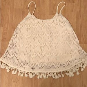 Cream lace tank top with fringe bottom